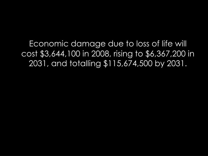 Economic damage due to loss of life will cost $3,644,100 in 2008, rising to $6,367,200 in 2031, and