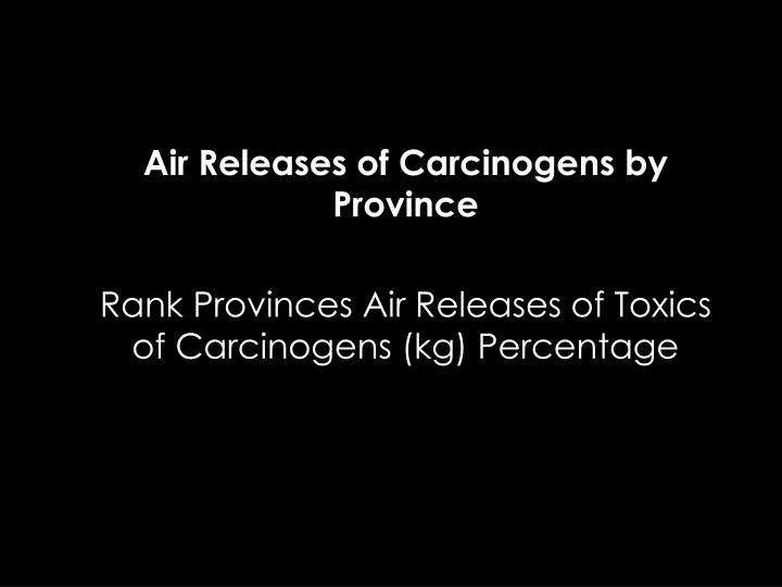 Air Releases of Carcinogens by Province