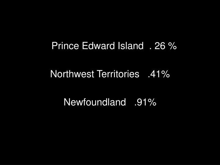 Prince Edward Island  . 26 %