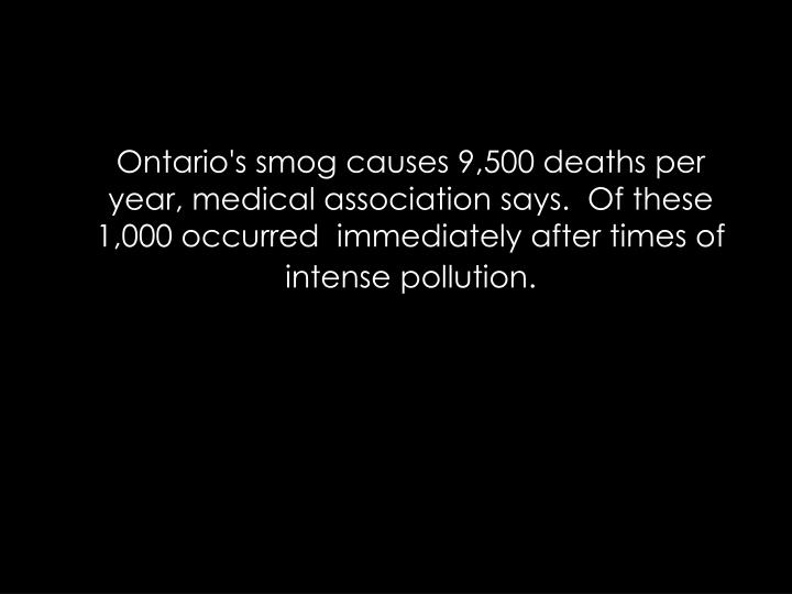 Ontario's smog causes 9,500 deaths per year, medical association says. Of these 1,000 occurredimmediately after times of intense pollution.