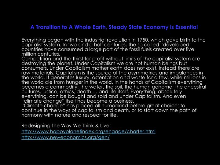 A Transition to A Whole Earth, Steady State Economy is Essential