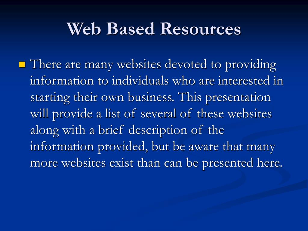 Web Based Resources