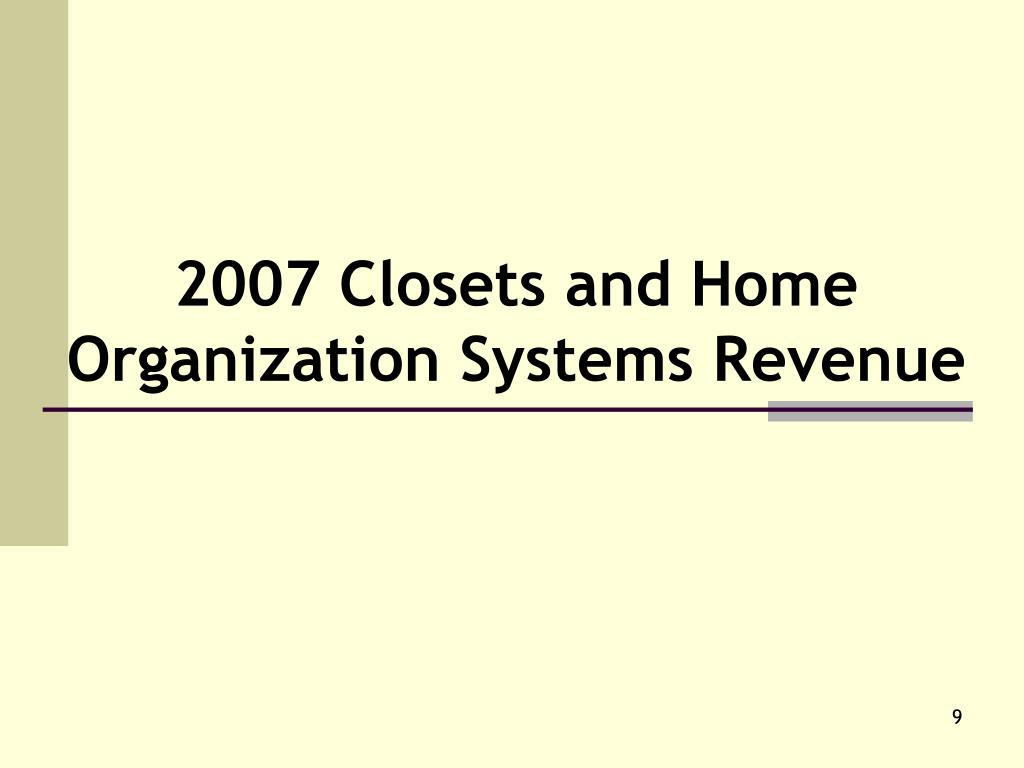 2007 Closets and Home Organization Systems Revenue