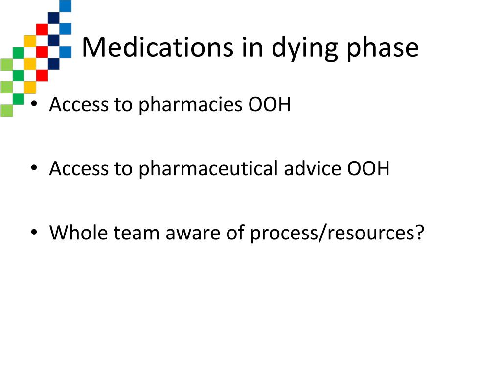 Medications in dying phase