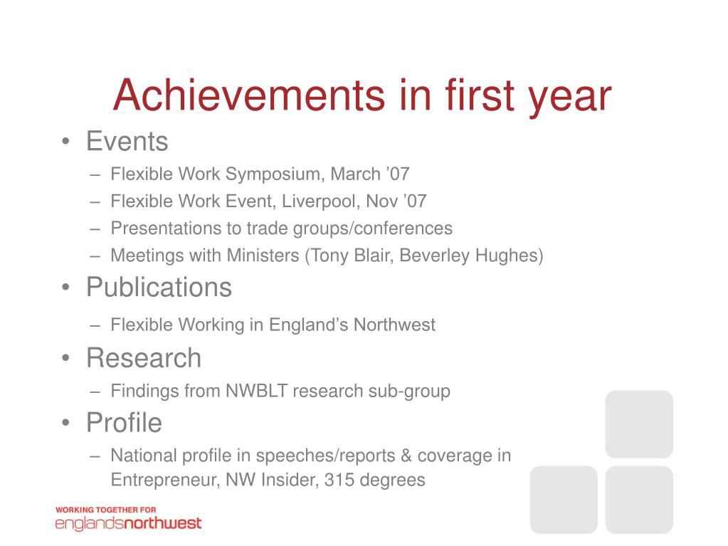 Achievements in first year