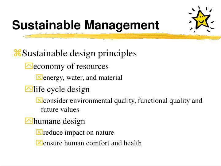 Sustainable Management
