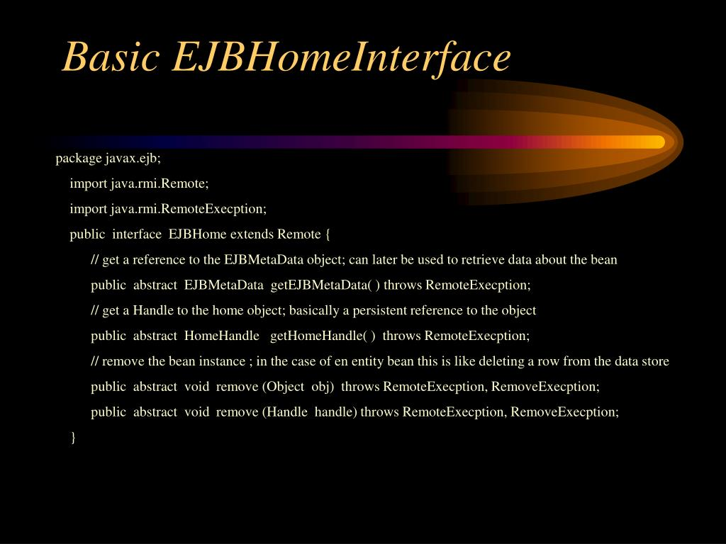 Basic EJBHomeInterface
