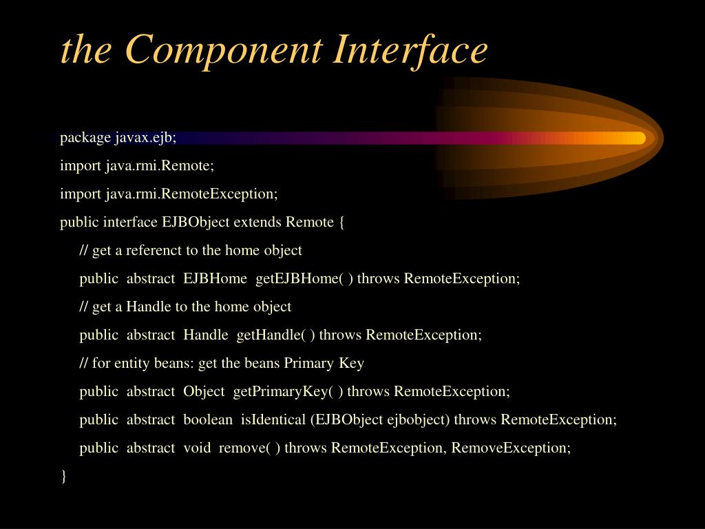 the Component Interface