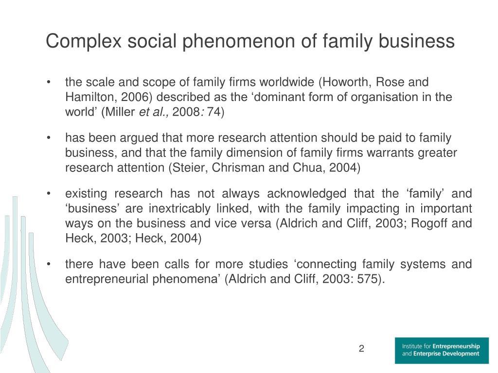 Complex social phenomenon of family business
