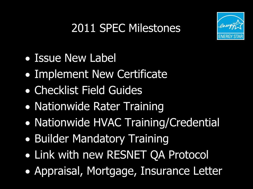 2011 SPEC Milestones