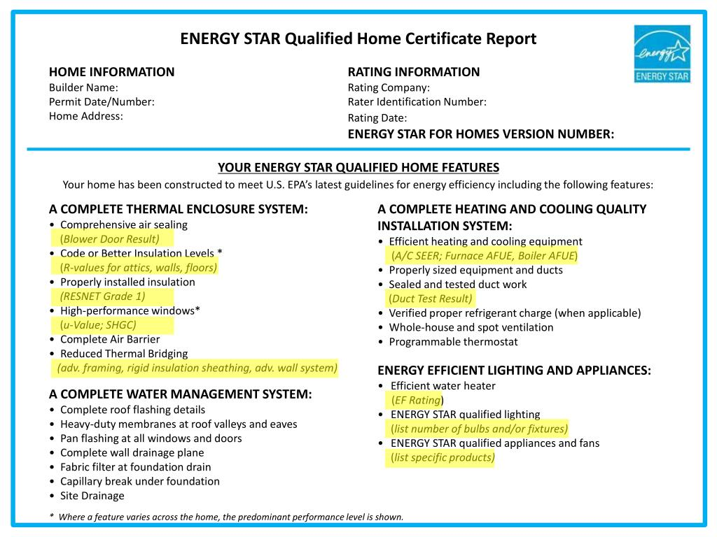 ENERGY STAR Qualified Home Certificate Report