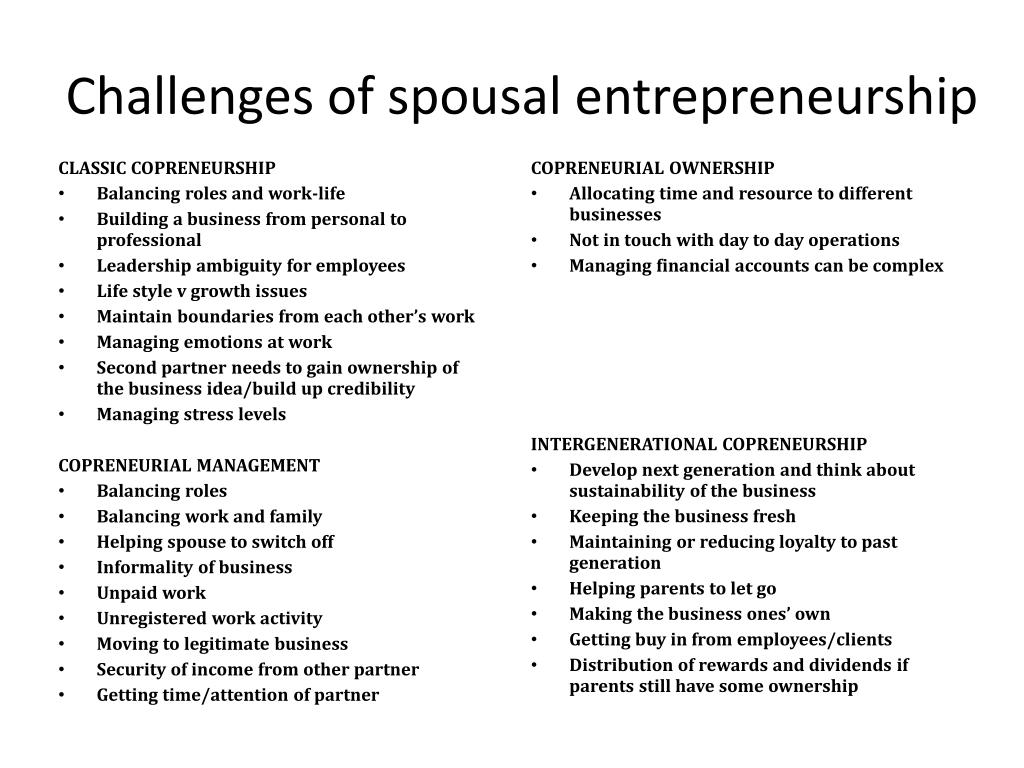 Challenges of spousal entrepreneurship