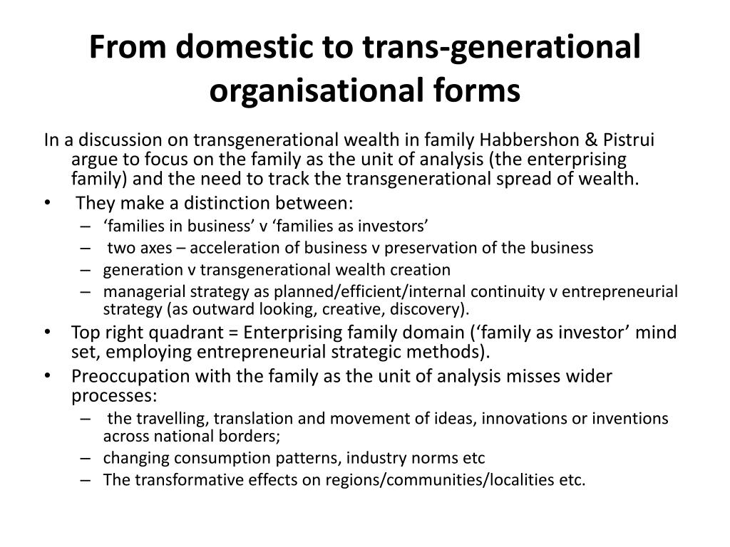 From domestic to trans-generational organisational forms