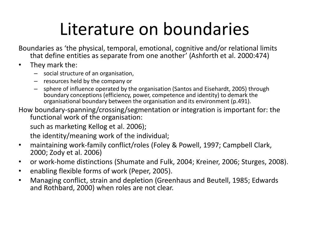 Literature on boundaries