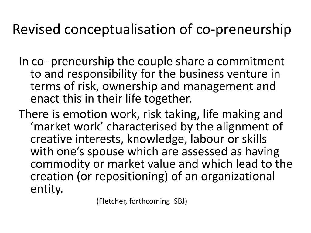 Revised conceptualisation of co-preneurship