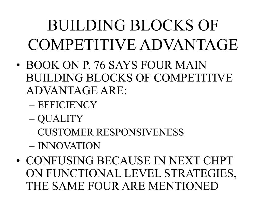 the building blocks of competitive advantage Lululemon's competitive advantage lies in their use of the 4 main building blocks: 1) efficiency outsourcing although lululemon athletica still designs their products in canada, the outsourcing of manufacturing has been suggested through current lululemon labels products now are being made in countries including:.
