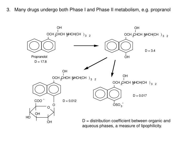 3.   Many drugs undergo both Phase I and Phase II metabolism, e.g. propranol
