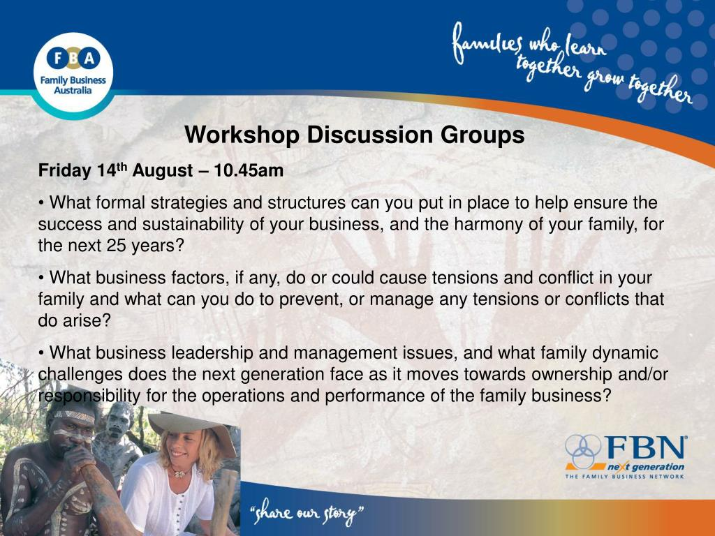 Workshop Discussion Groups