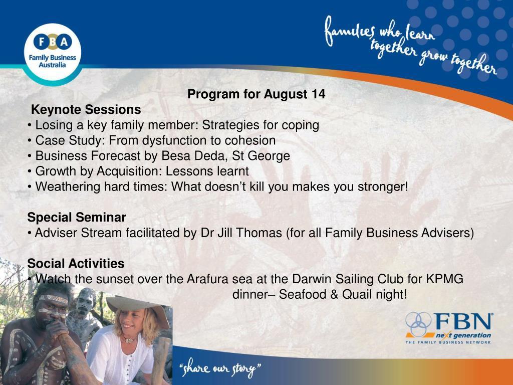 Program for August 14