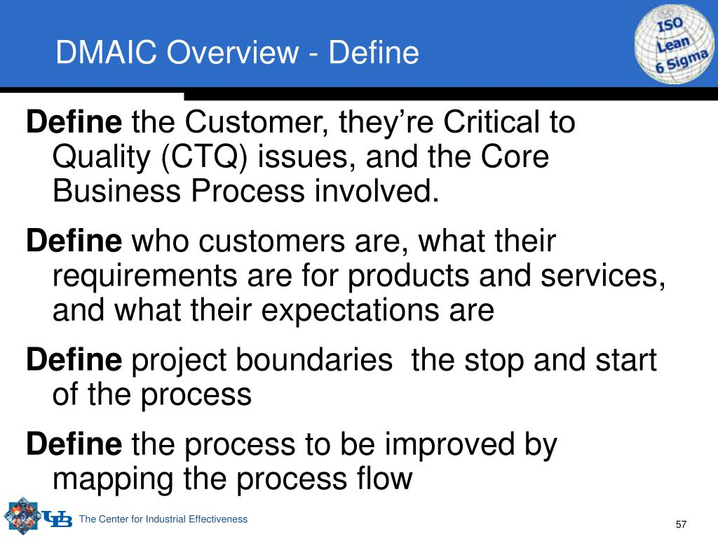 DMAIC Overview - Define