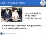 lean thinking isn t new