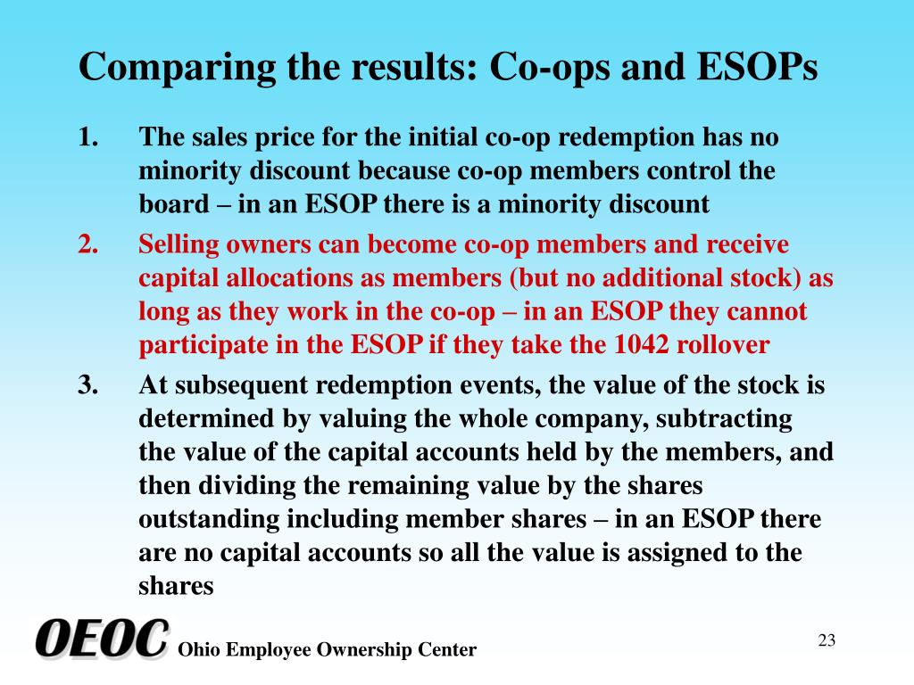 Comparing the results: Co-ops and ESOPs
