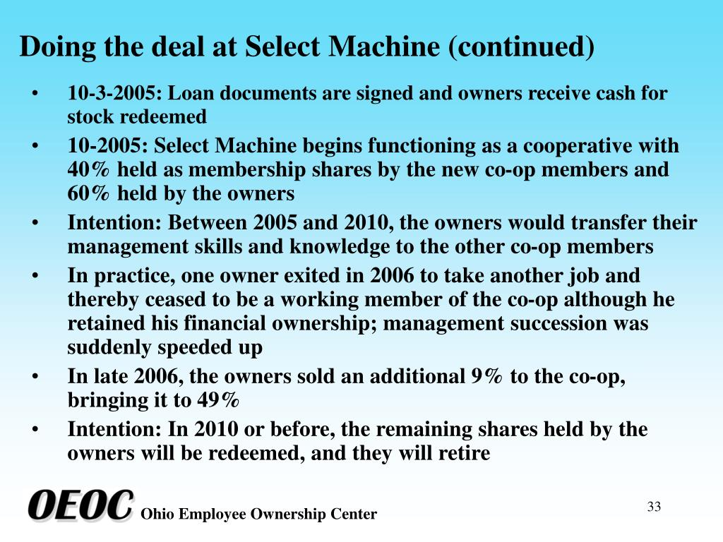 Doing the deal at Select Machine (continued)
