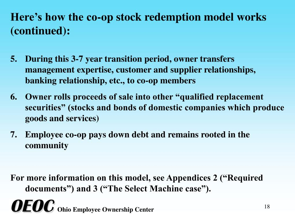 Here's how the co-op stock redemption model works (continued):