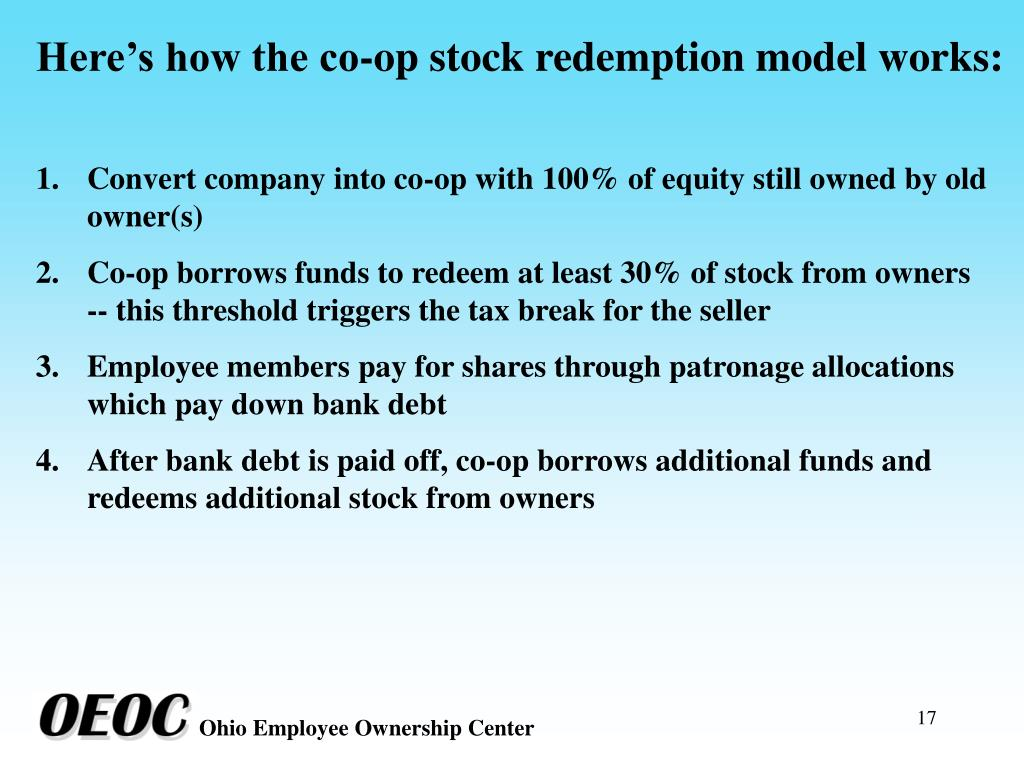 Here's how the co-op stock redemption model works: