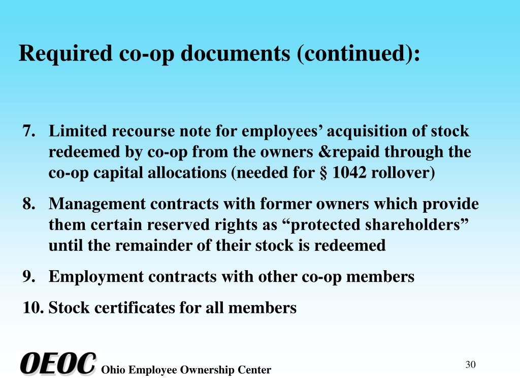 Required co-op documents (continued):