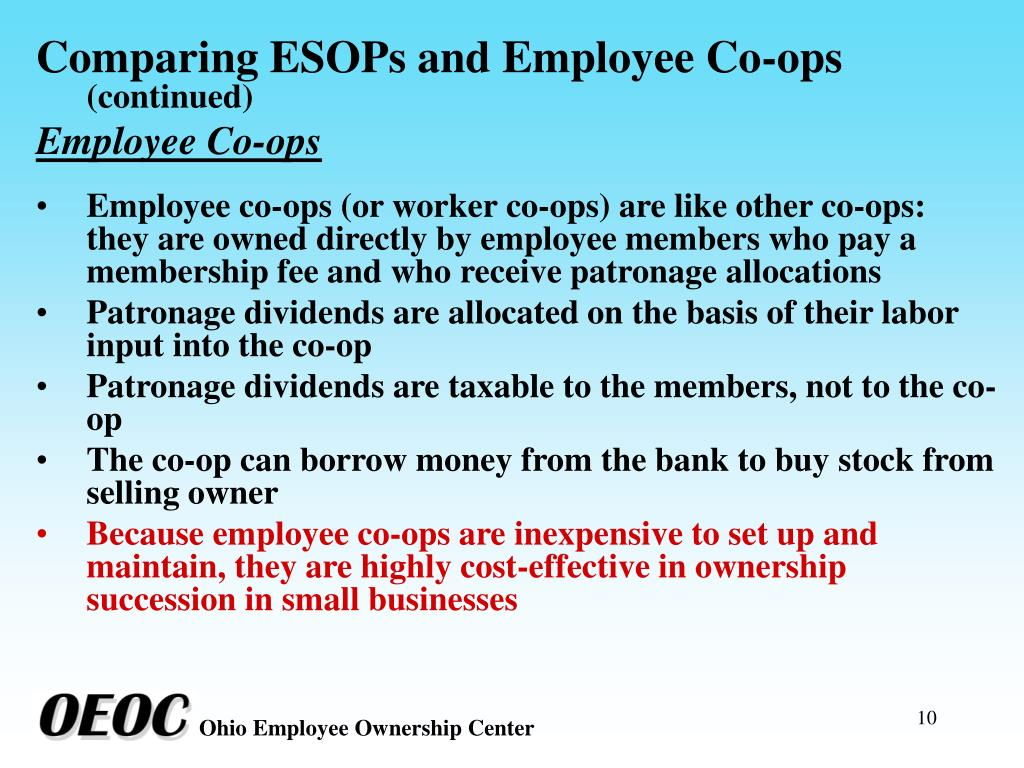 Comparing ESOPs and Employee Co-ops