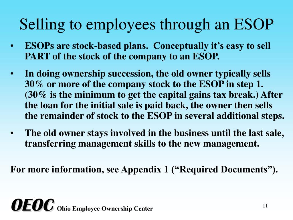 Selling to employees through an ESOP