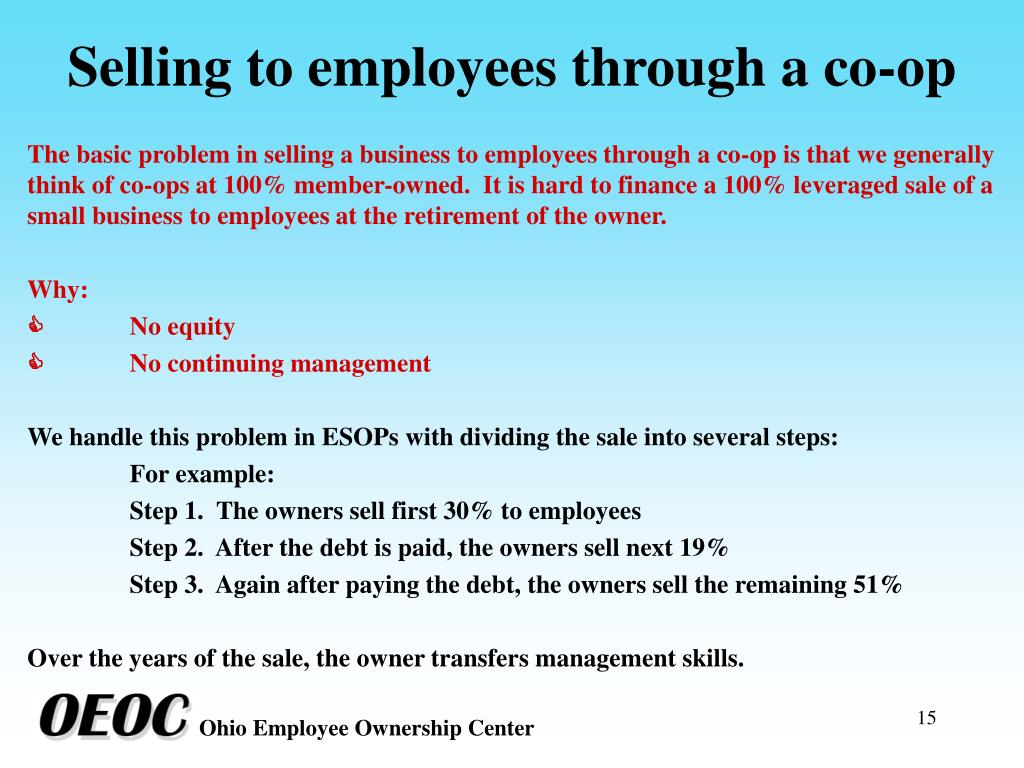 Selling to employees through a co-op