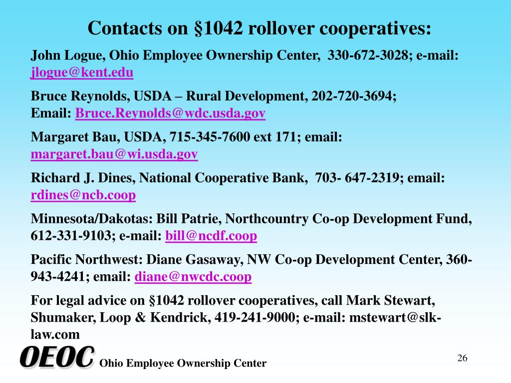 Contacts on §1042 rollover cooperatives: