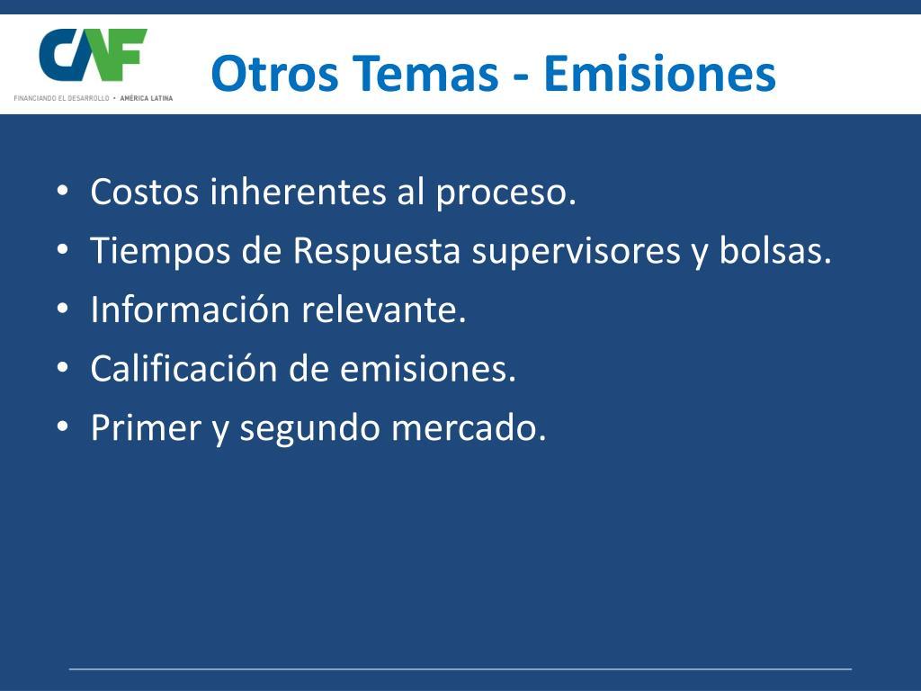 Otros Temas - Emisiones