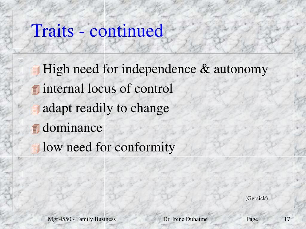Traits - continued