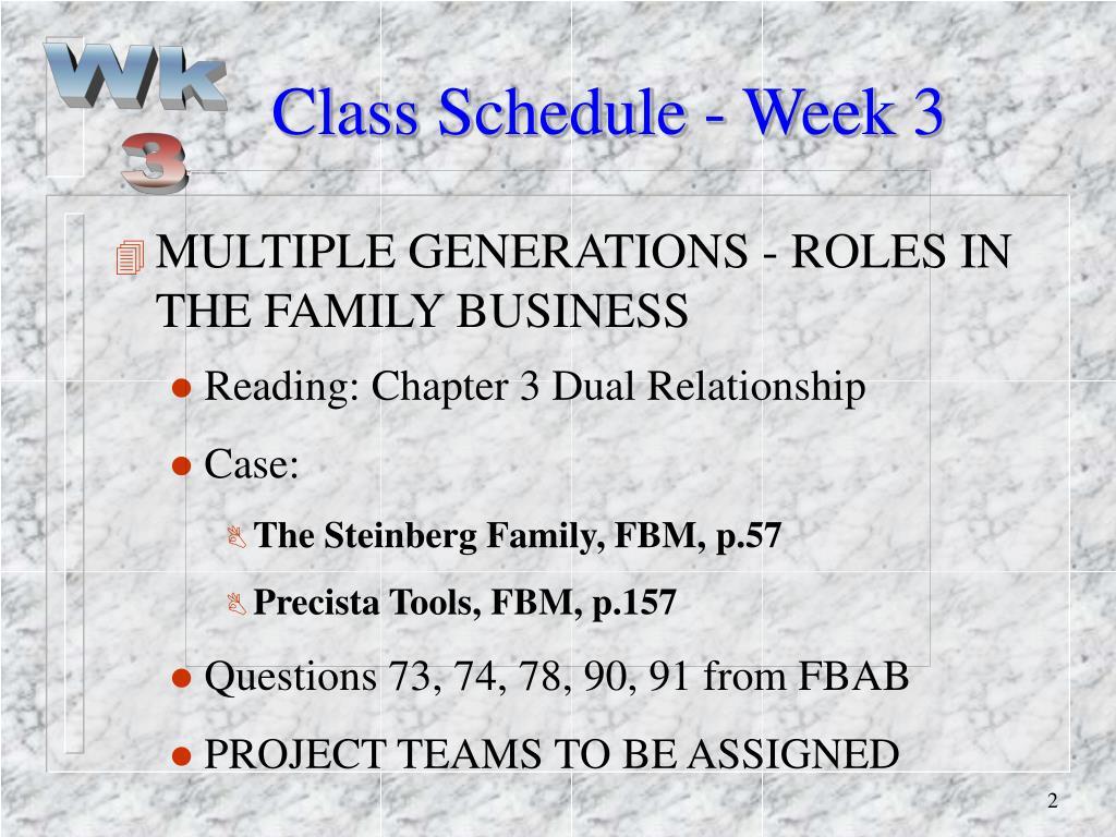 Class Schedule - Week 3