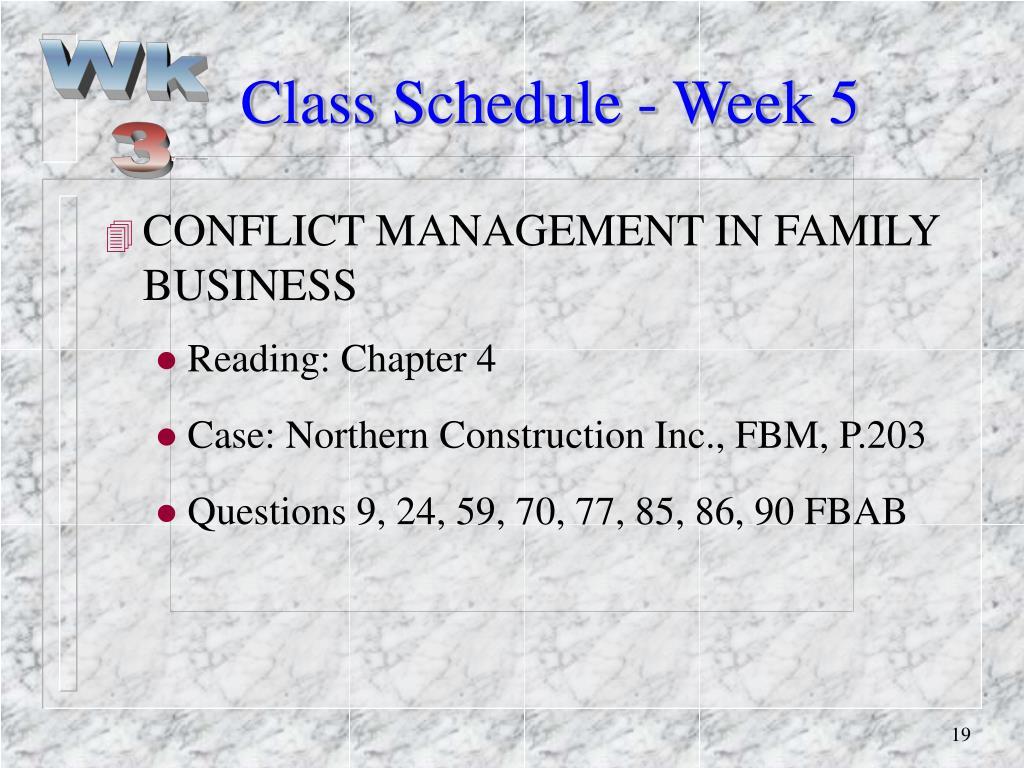 Class Schedule - Week 5