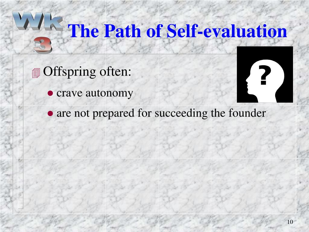 The Path of Self-evaluation