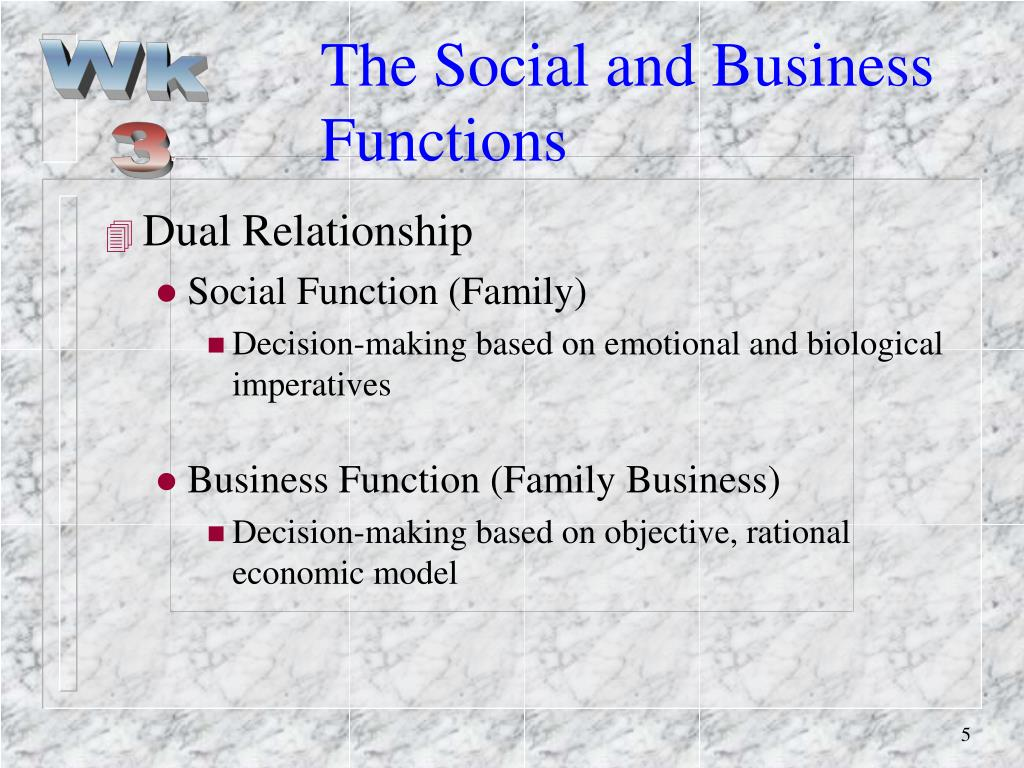The Social and Business Functions