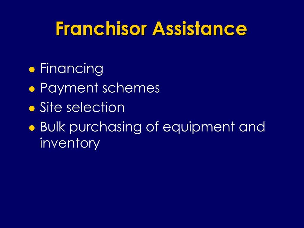 Franchisor Assistance