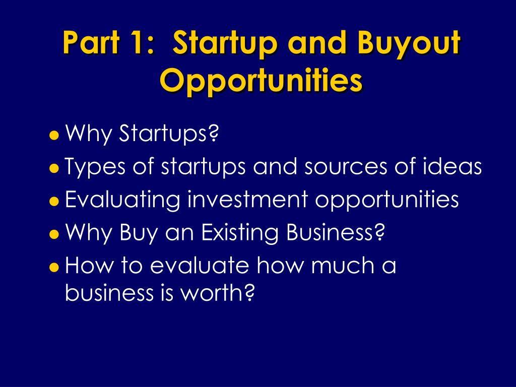 Part 1:  Startup and Buyout Opportunities