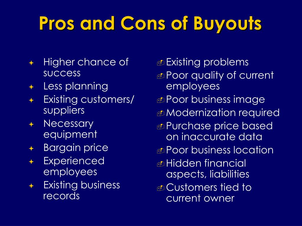 Pros and Cons of Buyouts