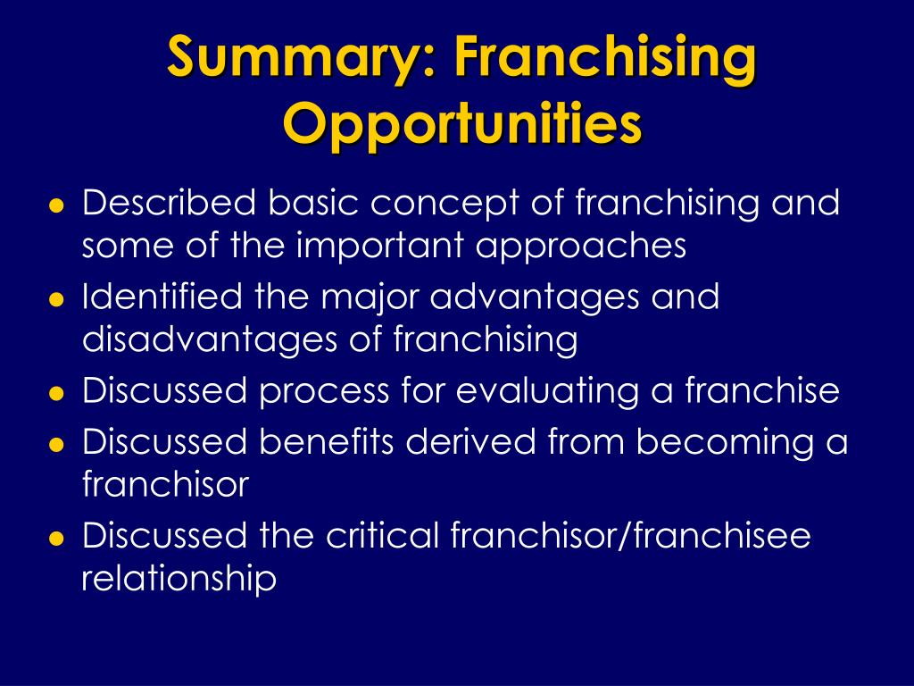 Summary: Franchising Opportunities