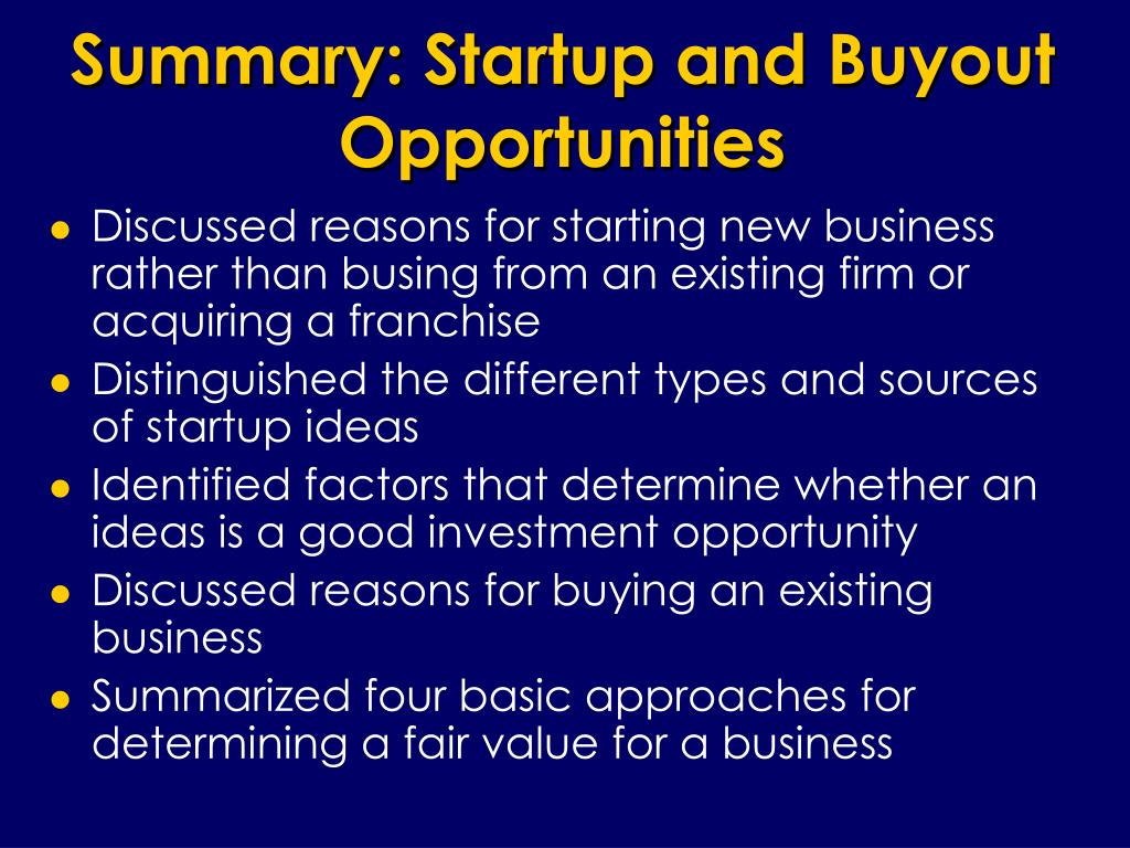 Summary: Startup and Buyout Opportunities