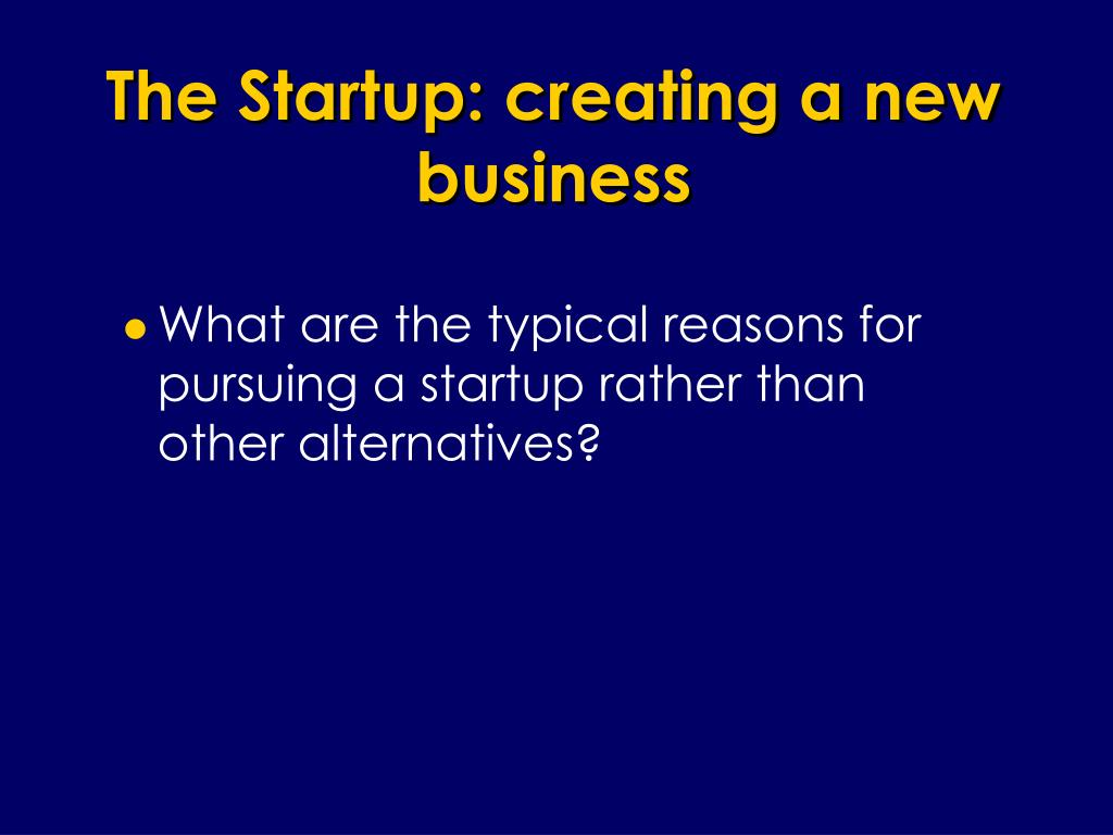 The Startup: creating a new business