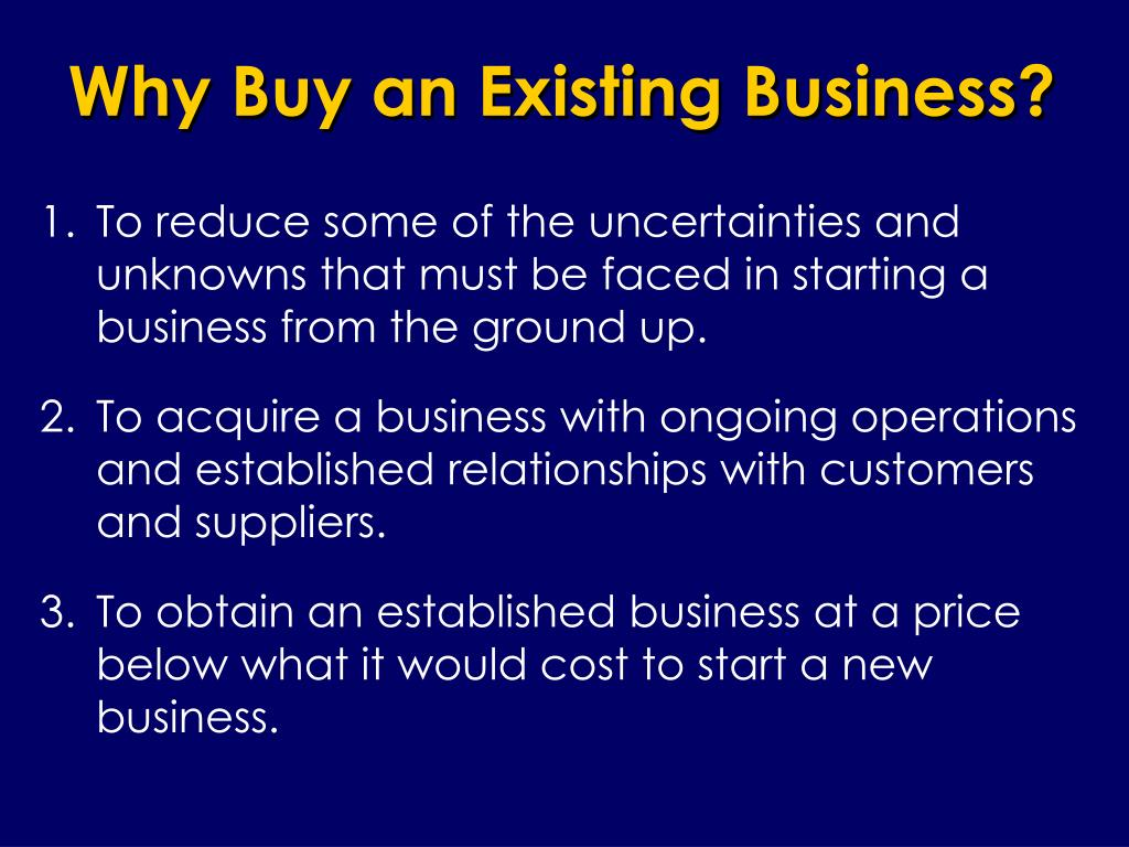 Why Buy an Existing Business?