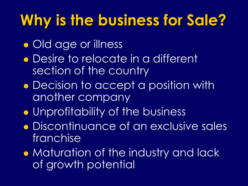 Why is the business for Sale?