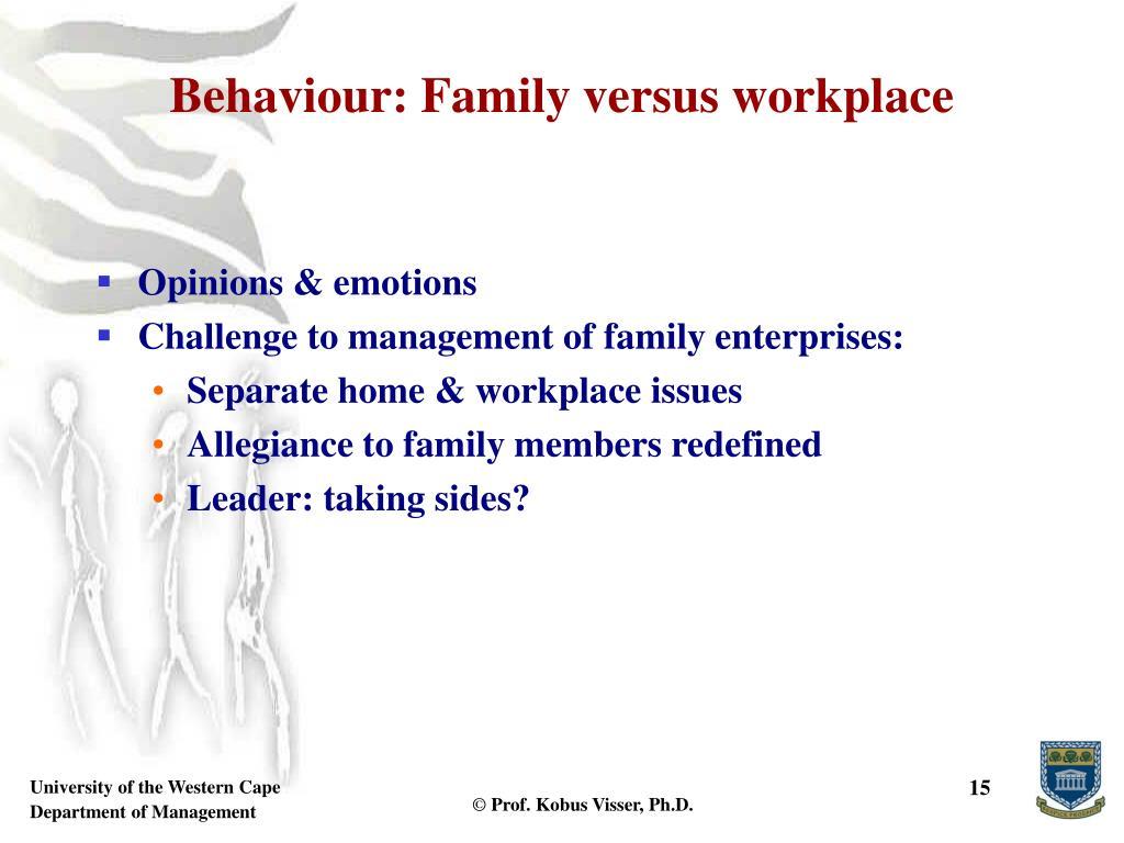 Behaviour: Family versus workplace