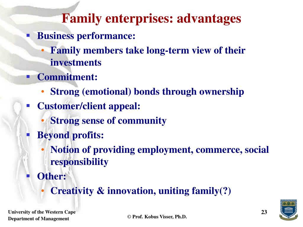 Family enterprises: advantages